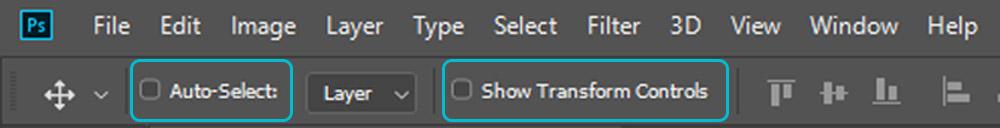 آموزش فتوشاپ - auto select و show transform در ابزار موو